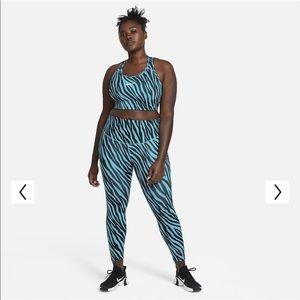 Plus Nike Blue Zebra print Active Set